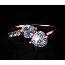 Anillo 2 Corazones Amor Baño Oro Rosa 18k Swarovski Crystals