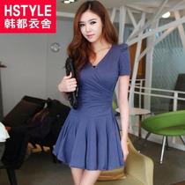 Vestido Azul Algodón Diseño Coreano Talla M/l