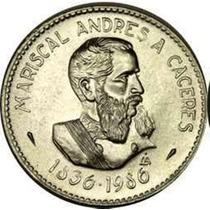 Peru 1986 Moneda Caceres Conmemorativa De Plata 200 Intis