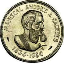 Peru 1986 Moneda Caceres Conmemorativa De Plata 100 Intis