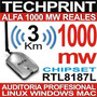 Usb Wifi 1000 Mw Reales Alfa Awus036h 3km Internet Auditoria