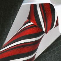 Corbata De Clásica Seda En Rojo Blanco Y Negro, M-0075