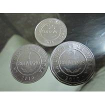 Lote De Tres Monedas Del Estado Plurinacional De Bolivia