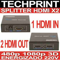 Splitter Switch Hdmi X 02 Out 480p 1080p 3d Energizado 220v
