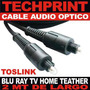 Cable Audio Optico Toslink Blu Ray Lcd Led Home Teather 2 Mt