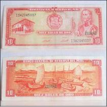 Dante42 Peru Billete Antiguo 10 Soles De Oro - 24 Mayo 1973