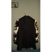 Saco Abrigo Dama Color Negro Mangas De Piel Distintivo Unico