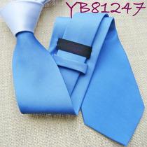 Corbata De Seda Delgada Color Celeste Cielo & Blanco M-343