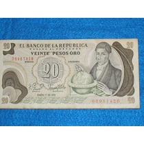 Billete De 20 Pesos Colombianos De 1981