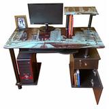 Escritorio De Vidrio / Mueble De Computo Con Cajones