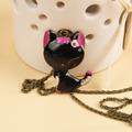 Cadena Collar Con Bonito Dije De Gatito Con Orejas Purpura