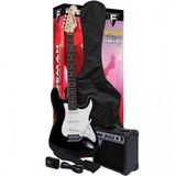 Pack De Guitarra Eléctrica Full Rock Color Negro, Freeman