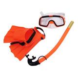 Set De Buseo De Niños Snorkel +lentes + Aletas + Piscina