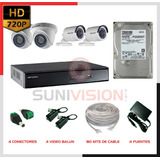 Kit  4 Cámaras Hikvision Hd Disco 1 Tb Especial Fuente 2 Amp