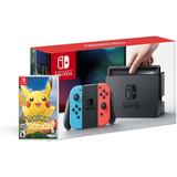 Consola Nintendo Switch Neon + Juego Pokemon Lets Go Nuevo