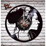 Reloj De Vinilo Retro Músic Girl
