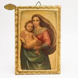 Cuadro Virgen María Niño Cristo Florentinos Pan De Oro