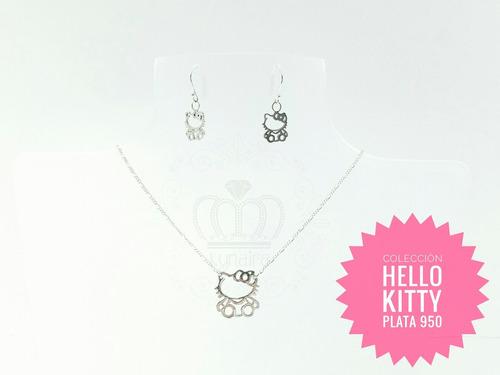 d9921f1d1301 Collar Cadena Dije Y Aretes Hello Kitty 100% Plata Kynaira