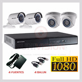 Kit 4 Camaras Seguridad Hikvision Turbo Full Hd 1080p
