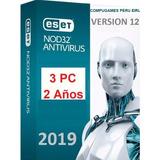 Eset Nod32 Antivirus 2 Años (3pc) 2019 Envio En 5 Minutos