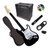 Gran Pack Guitarra Electrica Negra Amplificador Y Accesorios