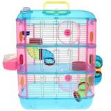 Jaula Acrilica De 3 Pisos 2 Hamster Comida Sustrato Esfera