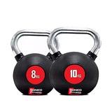 Kettlebell Pesa Rusa Goma Cromada Set 8kg+ 10kg Gym Crossfit