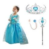 Disfraz Frozen Elsa Importado. Set Frozen Y Accesorios