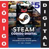 Steam Gift Card S/5 Para Steam Valve Wallet