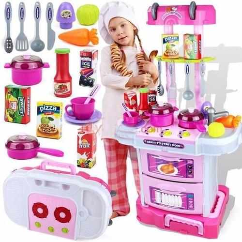 cocina de juguete para nias accesorios porttil luces