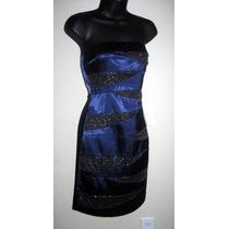 Vestido Straples Corto Azul Zig Zag Fiesta Matrimoni S Stock