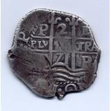Moneda Macuquina De Dos Reales.. Año 1671