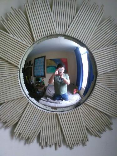 Antiguo espejo redondo bombe de madera tipo bamb for Espejo redondo madera