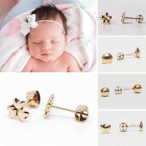 7e699fd429a4 Aretes Abridores Para Bebé Recién Nacida Niña Oro 18k Regalo