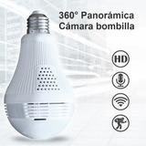 Foco Cámara Seguridad Wifi 360° 64gb Vigilancia Espia