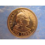 Libra Peru Moneda Oro Solido Ley 22 Kilates Año 1966 Escaso