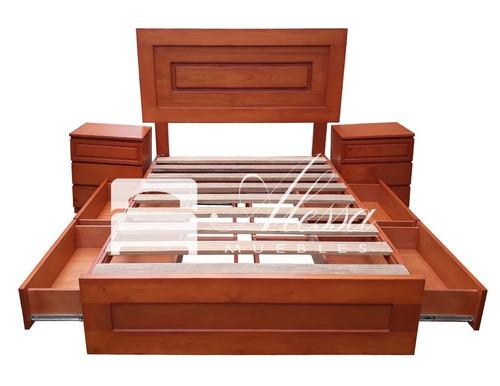 Cama con 4 cajones laterales 100 madera cedro 2 plazas s for Cama con cajones precio