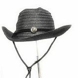 6d479688cbc40 Sombrero Fedora Cowboy Paja Color Negro