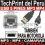 Cable Usb 5 Pines Mp3 Mp4 Camara Razr V3 Pebl V220 V180 C65