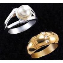 2 Anillos Baño Oro Y Plata Brillante Perla Cristales Talla 7