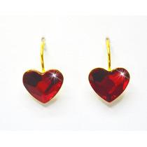 Aretes Mujer Pegados Corazón Siam Rojo Swarovski Elements