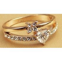 Hermoso Anillo De Compromiso Baño Oro 18k Swarovsky Crystals