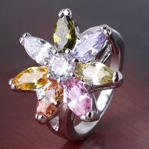 Anillo Bañado En Oro De 18 K Y Cristal Swarovski Sortijas
