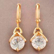 Aretes Oro Laminado 18k Con Cristales Swarovski