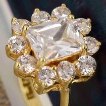 Anillo Compromiso Oro Laminado 18k Cristal Swarovski Talla 7