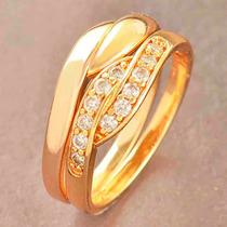 Anillos Compromiso Dual Oro Laminado 18k Zircon Tallas 6 Y 7
