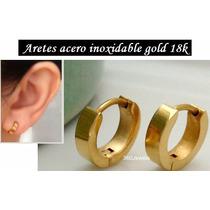 Aretes Argolla Acero Baño Oro 18 Traido De Usa +caja Regalo