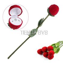 Romantica Caja En Forma De Rosa Anillo Aretes Collar Joyeria