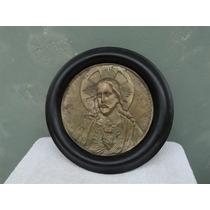 Antiguo Cuadro De Corazon De Jesus En Madera Y Bronze Plaque