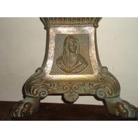 Aplique Virgen Bronce Antiguo Patas De Leòn Art Nouveau